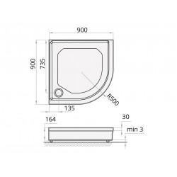 Akmens Masės Dušo Padėklas SPN P 704 1 90x90 cm.