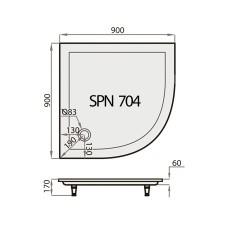 Akmens Masės Dušo Padėklas SPN P 704 90x90 cm.