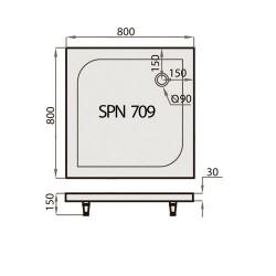 Akmens Masės Dušo Padėklas SPN P 709 80x80 cm.