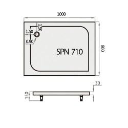 Akmens Masės Dušo Padėklas SPN P 710 80x100 cm.