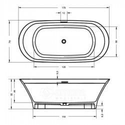 Akmens masės Vonia RIHO Barca 170x79 cm.