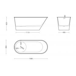 Akmens Masės Vonia SPN BARTOLINI 160x70 cm.