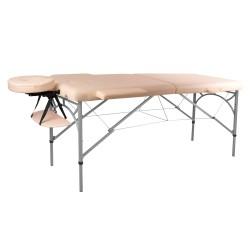 Aliumininis sulankstomas masažo stalas 2 dalių inSPORTline Tamati  - Creamy White
