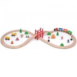 Didžiulė Medinė Geležinkelio Stotis Train Viga Toys