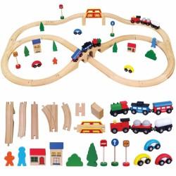 Didžiulė Medinė Geležinkelio Stotis Rain Viga Toys