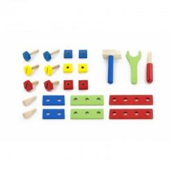 Dirbtuvės Viga Wooden Toolbox Building Blocks