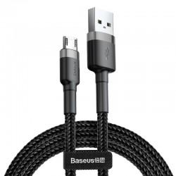 Kabelis USB2.0 A kištukas - micro USB kištukas 2.0m QC3.0 su nailoniniu šarvu Cafule pilkas/juodas BASEUS