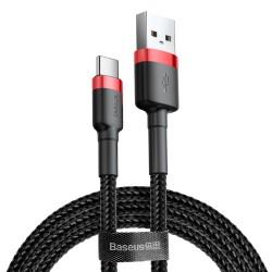 Kabelis USB2.0 A kištukas - USB C kištukas, 1.0m QC3.0 su nailoniniu šarvu raudonas/juodas BASEUS