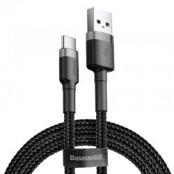 Kabelis USB2.0 A kištukas - USB C kištukas, 2.0m QC3.0 su nailoniniu šarvu Cafule pilkas/juodas BASEUS