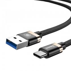 Kabelis USB3.0 A kištukas - USB C kištukas 1.0m, su tekstiliniu šarvu (juodas/auksinis), Golden Belt BASEUS