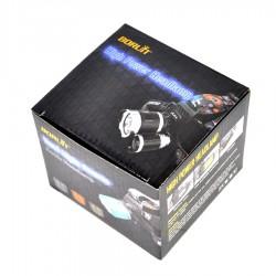 LED Žibintas Ant Galvos BORUiT RJ-3000 UV Ir Baltos Šviesos + 2x Baterija Panasonic NCR18650B 3400mAh Li-ion 3.7v