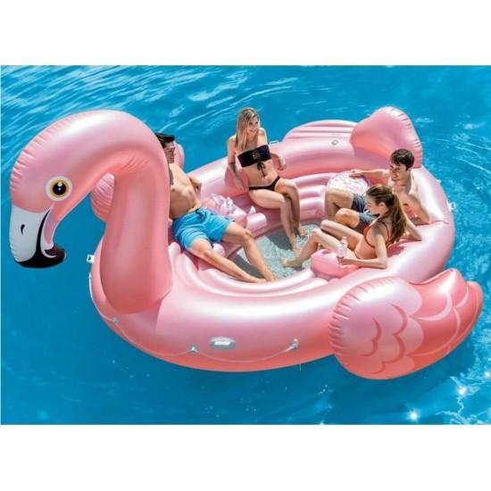 Milžiniškas Pripučiamas Flamingas INTEX Party Flamingo Island, Rožinės Sp., 422 x 373 x 185 cm
