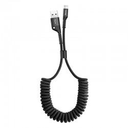 Spiralinis kabelis USB2.0 A kištukas - IP Lightning kištukas 1.0m juodas su nailoniniu šarvu Fish Eye juodas BASEUS
