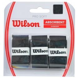 Teniso Raketės Apvija Wilson Pro Soft Absorbent Overgrip Juoda 3 vnt WRZ4040
