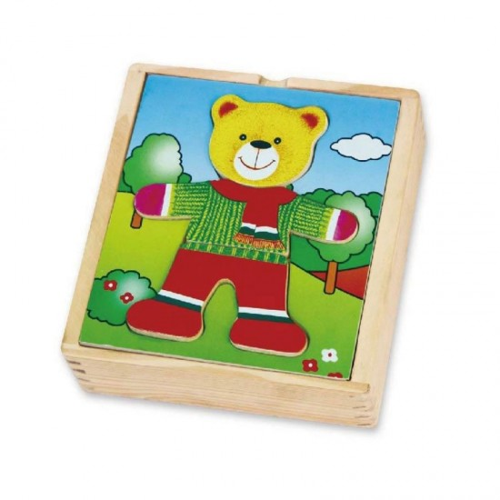 """""""Viga Wooden Puzzle"""" edukacinis galvosūkis su meškiuku"""