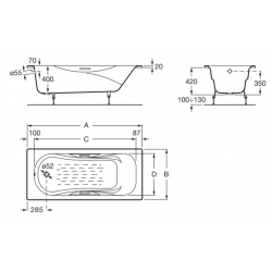Emaliuota ketaus vonia MALIBU 1600x700 mm su chromuotomis rank., antislip d., balta
