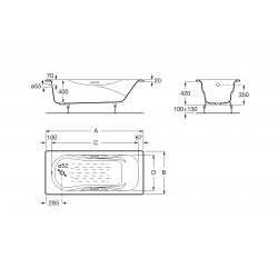 Emaliuota ketaus vonia MALIBU 1600x750 mm, antislip, balta