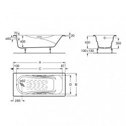 Emaliuota ketaus vonia Malibu 170 × 70 cm, antislip, balta